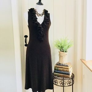 LAUREN RALPH LAUREN Dark Brown Knit Ruffled Dress